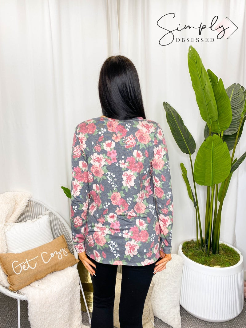 Sew In Love - Floral V Neck Long Sleeve Top with Front Pocket (All Sizes)
