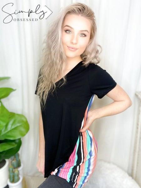 Sew In Love - Short sleeve color block striped v-neck top (BLACK)
