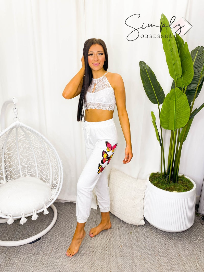 Blue Buttercup - Butterfly graphic sweat pants