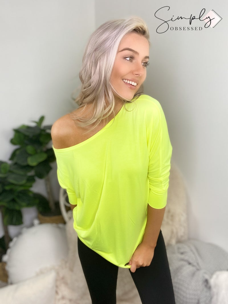 Boat Neck Dolman 3/4 Sleeve with side ruched top