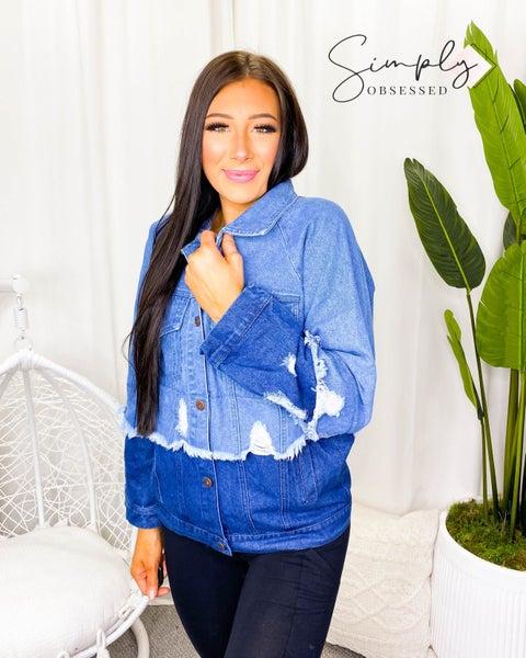 BiBi - Color block washed distressed denim jacket