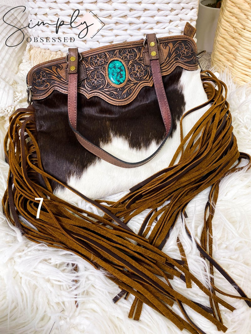 Tassel and stone detail hand crafted leather work bag