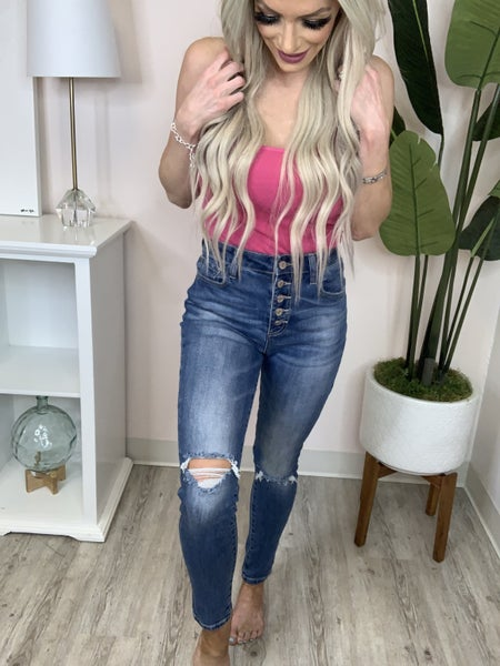 C'est Toi - Button down high rise ankle skinny jeans