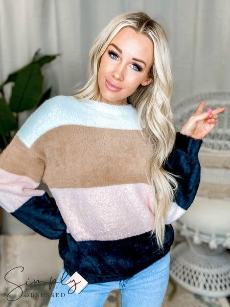 Peach Love California - Color blocked knit top