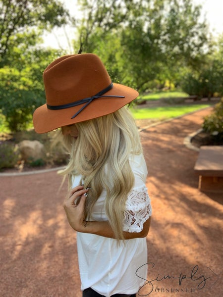 Fame Accessories - Round brim hat with leather tassel