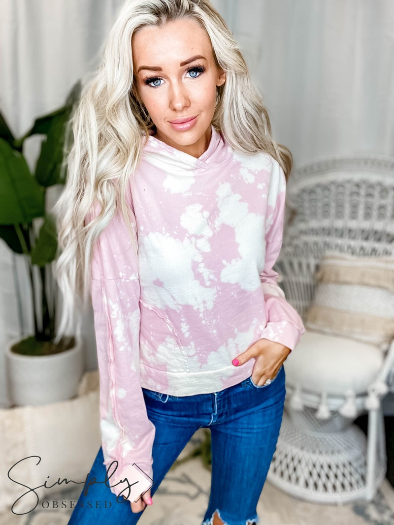 Peach Love California - Tie Dye Long Sleeve Knit Hoodie