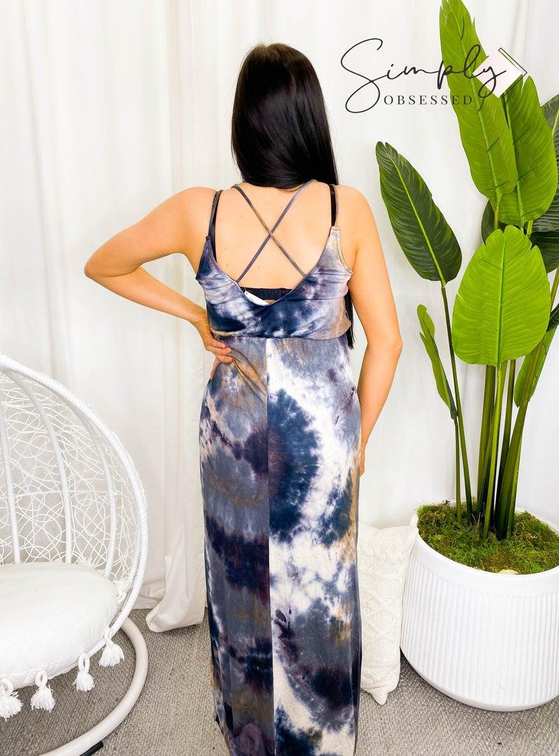 White Birch - Sleeveless tie dye maxi dress w/ crisscross back detail