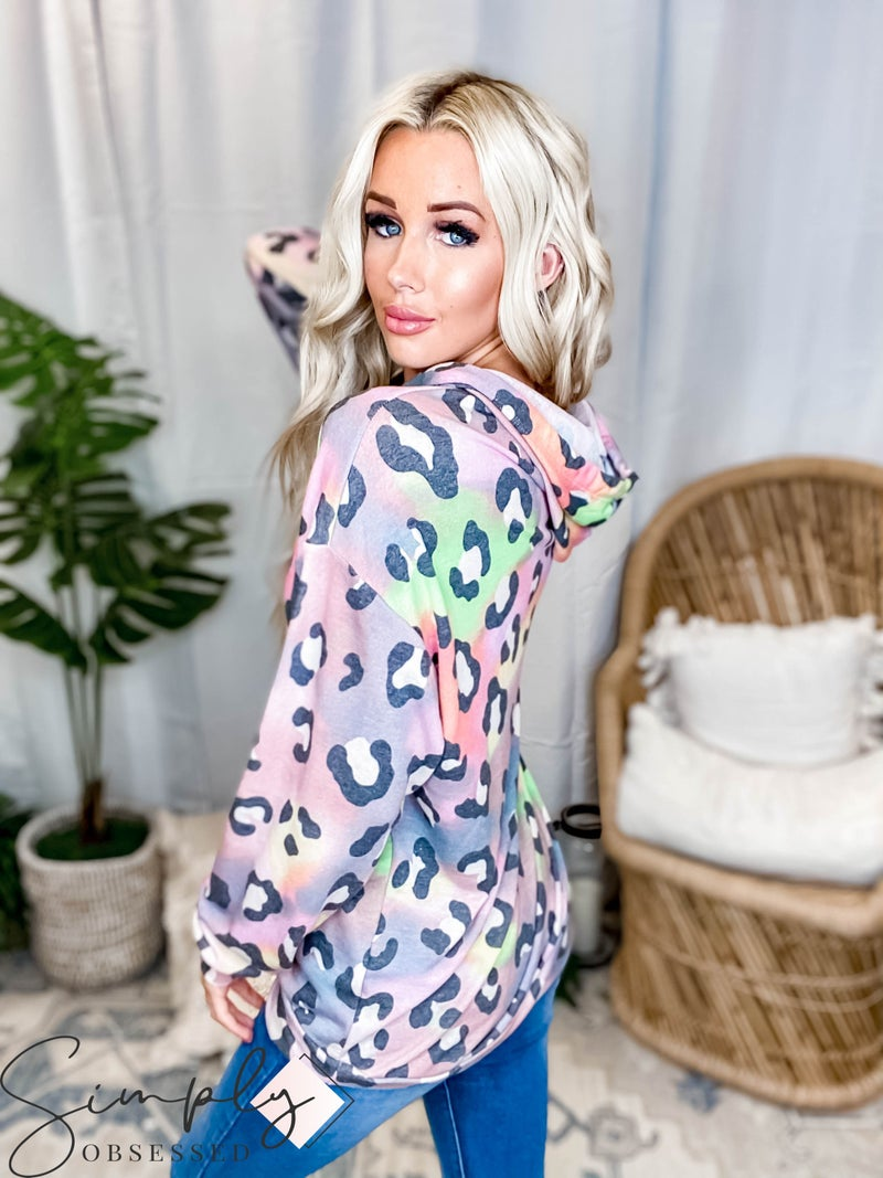 White Birch LA First Dibs - Long Sleeve Leopard Hoodie