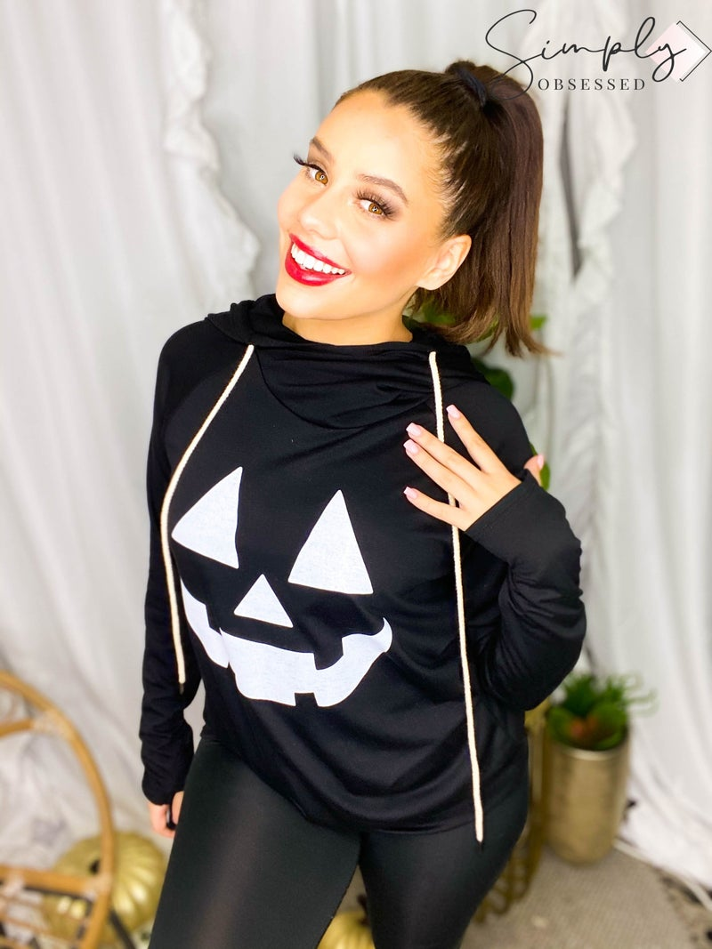 Vanilla Bay - Long sleeve double hooded halloween pumpkin graphic top