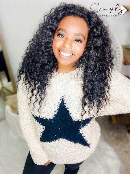Doe & Rae - Fuzzy long sleeve star sweater