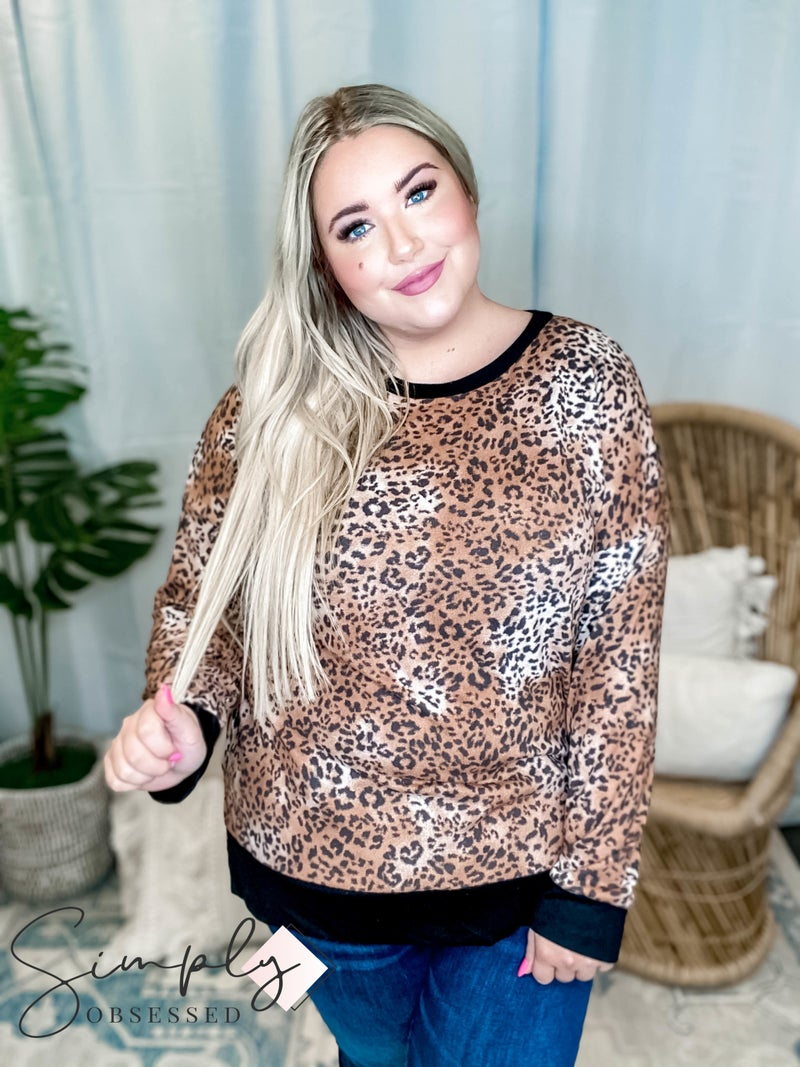 Honeyme LA First Dibs - Round neck high low leopard sweater