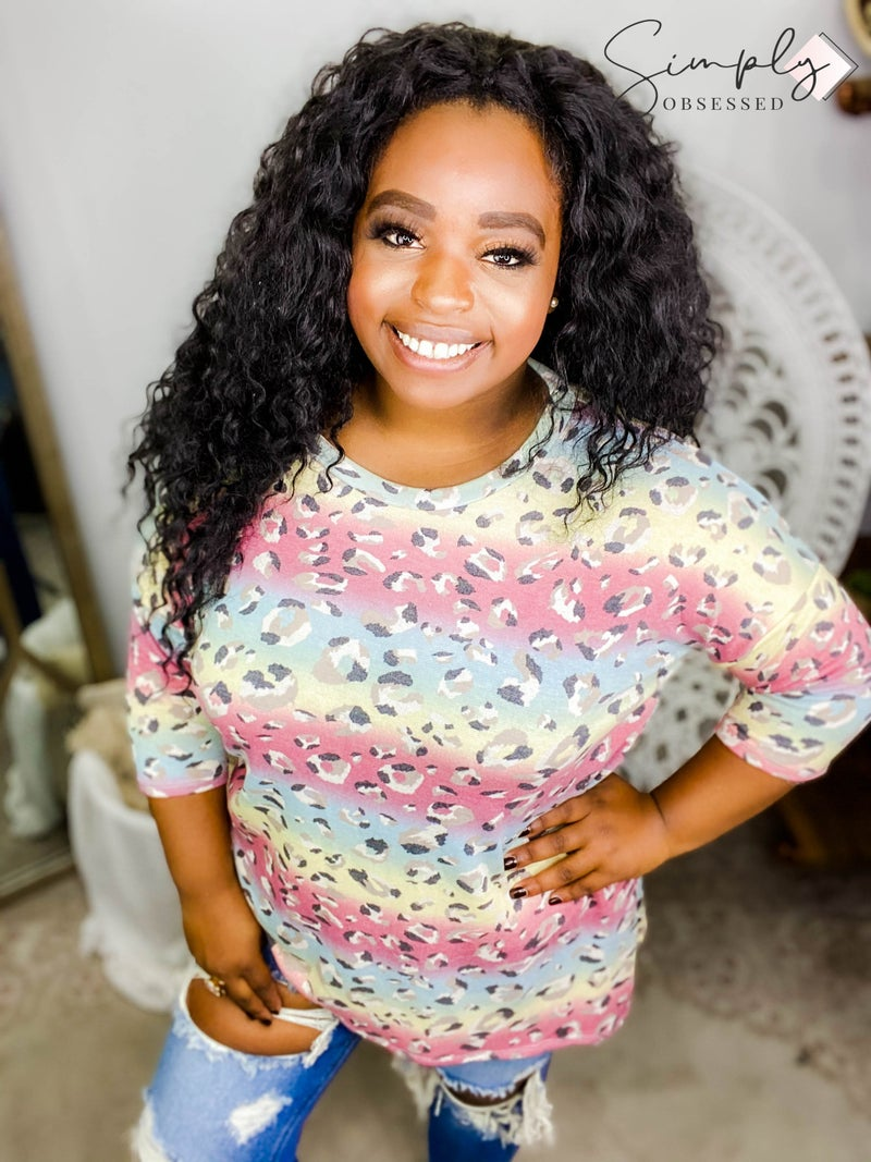 Sew In Love - Long sleeve soft animal print multi color top