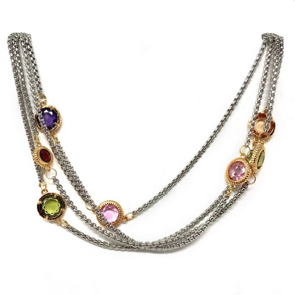 Silver Double Strand Multi Color Circle Necklace
