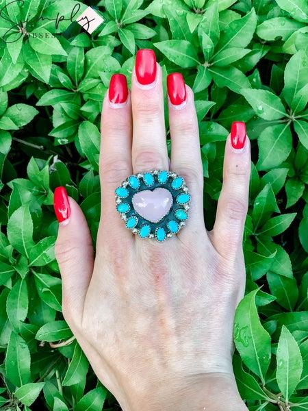 M & S - Rose Quartz Heart w/ Turq. Cluster Ring