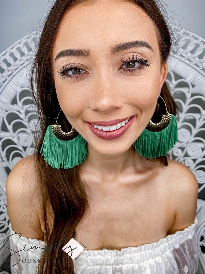 Faire - Green Fringe Fan Earrings