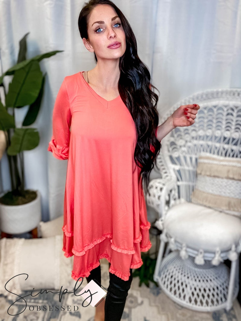 Ninexis - 3/4 flare sleeve tiered dress with small ruffle detail