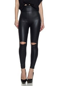 CEMI CERI-Ultra high rise, faux leather Leggings with a banded elastic waist and knee cutouts.