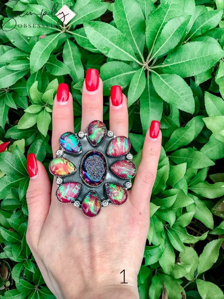 M & S - Druzy w/ Iridized Opal Cluster Ring