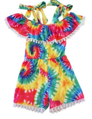 Honeydew - Tie dye pom pom off shoulder romper material KIDS