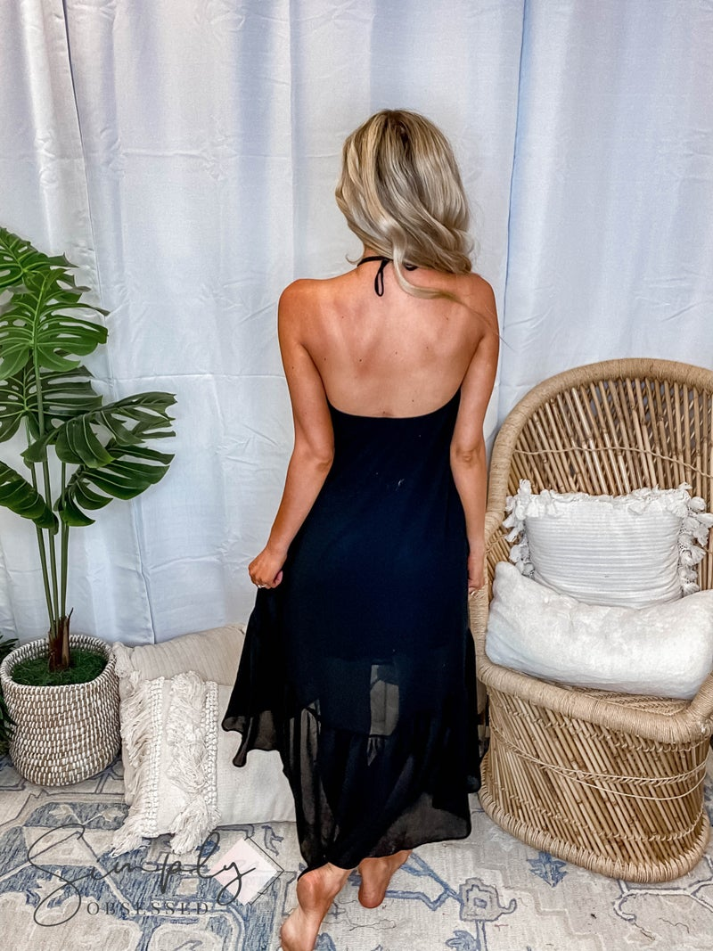 Caramela - Solid Ruffled Sleeveless Dress with Tie Around Neck Strap