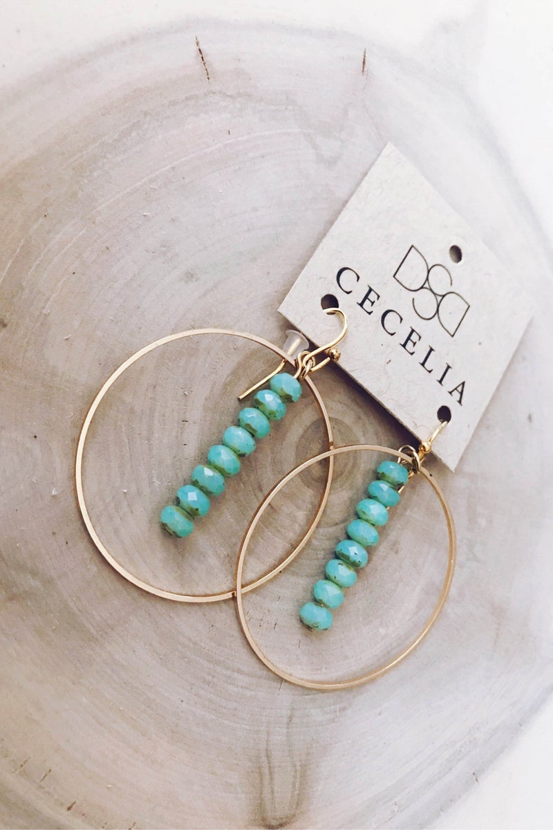 CECELIA - Gold Hoop Earrings with Stone Bar