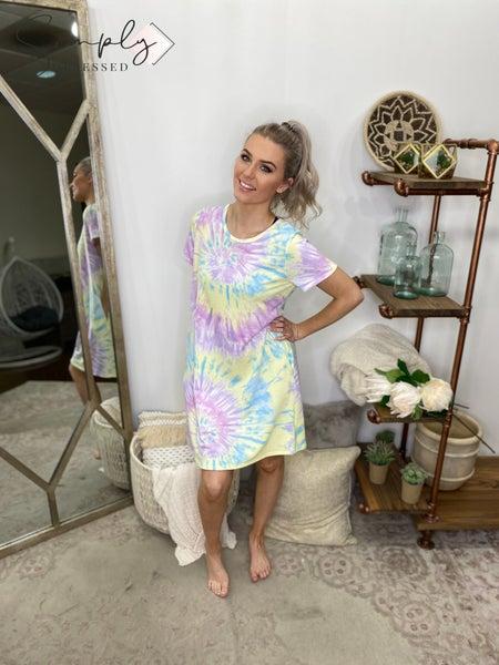 HONEYME-T-SHIRT DRESS WITH CROSS BACK STITCHING