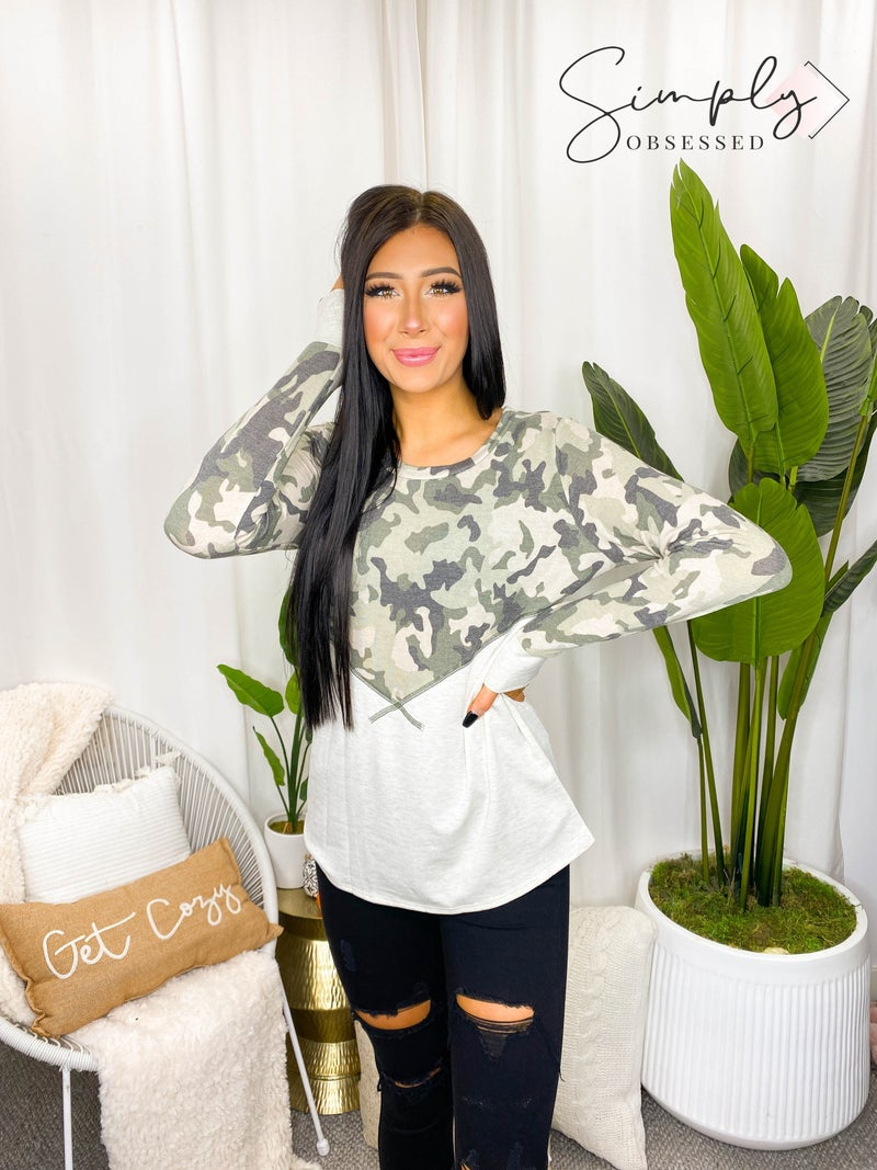 VANILLA BAY-A long sleeve knit top featuring camo and pinstripe color block with overlock stitch