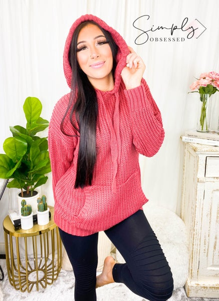 Hooded heavy knit sweater(plus)