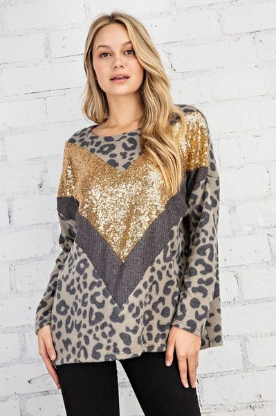 FSL Apparel - Long sleeve leopard print top with sequin contrast chevron stripe