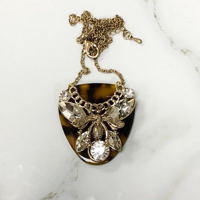 The Encore Fashion Group - Guitar Pick Bee Pendant Necklace