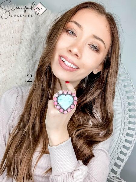 M & S - Larimar Heart w/ Moonstone Cluster Ring