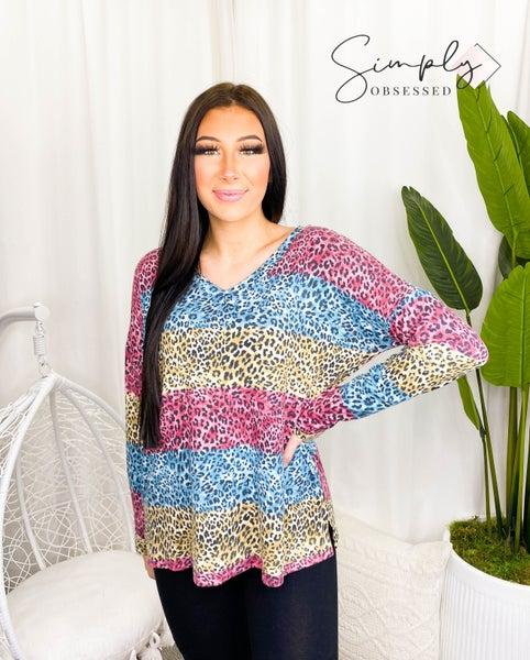 Sew In Love - Animal print color block long sleeve v neck top(plus)