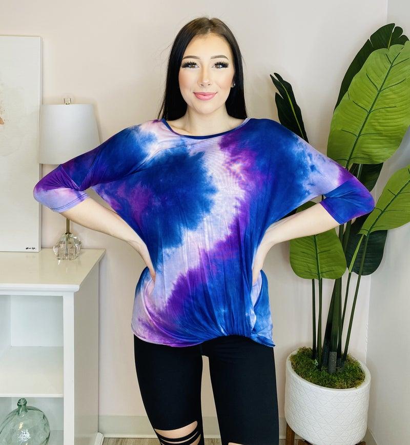 Tie Dye Twist Hem 3/4 sleeve top