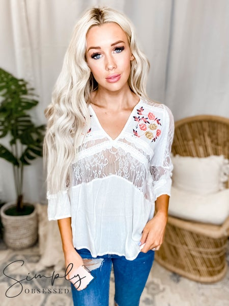 Ivory floral embroidered mesh laced ruffle top