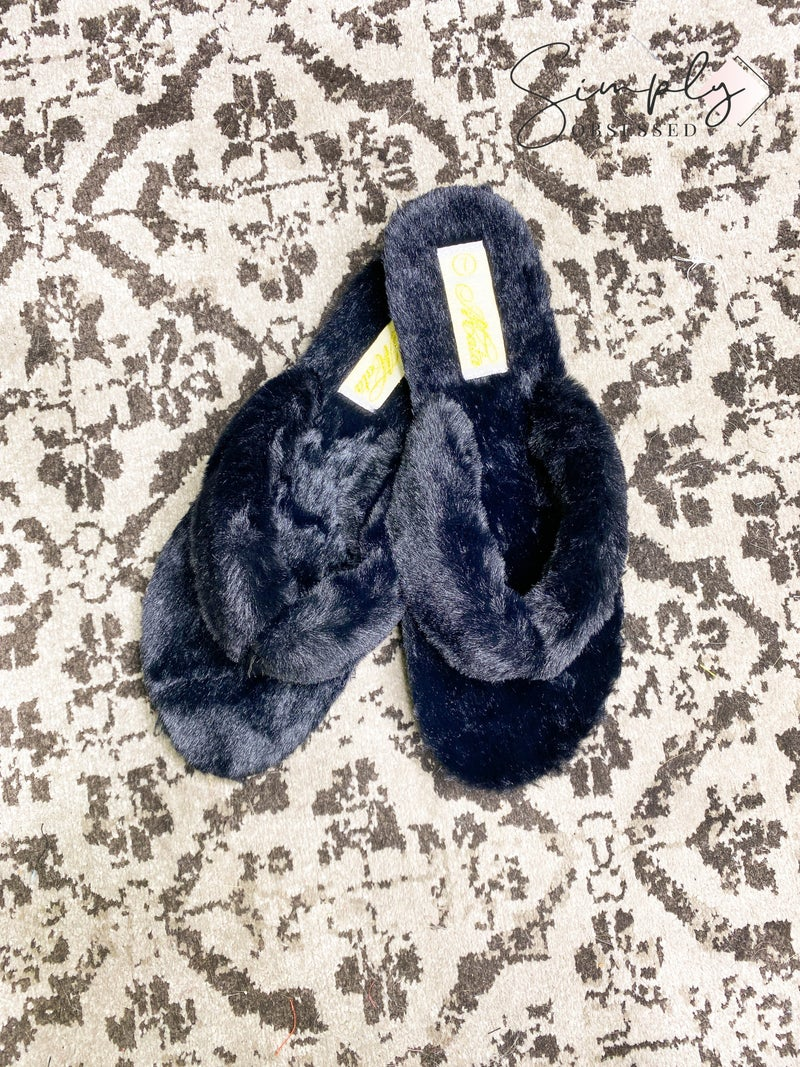 LET'S SEE STYLE-CASUAL FUR FLIP FLOP