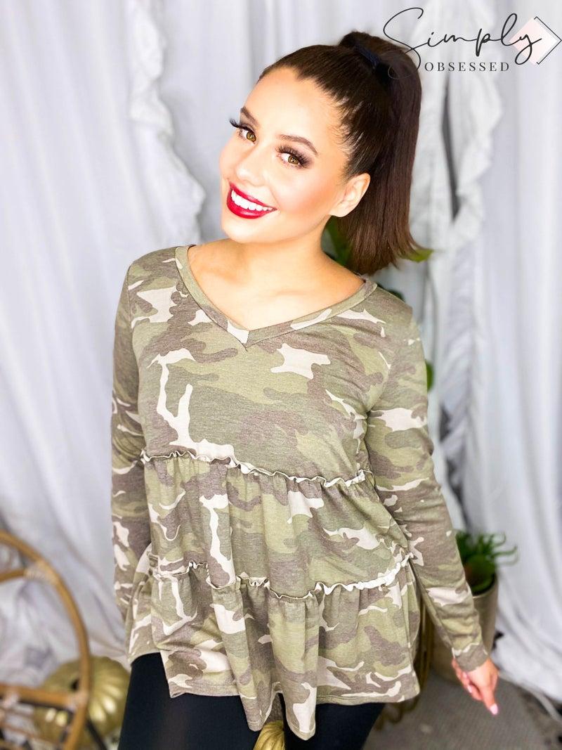 Sew In Love - Camo Long Sleeve Tunic Top