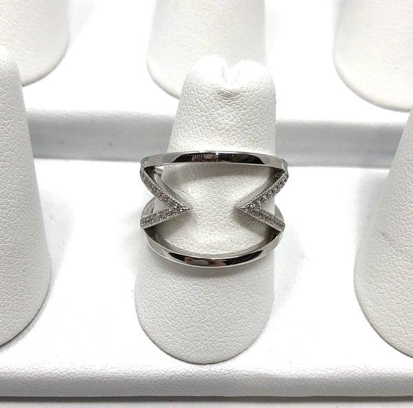 Silver CZ Triangle Ring