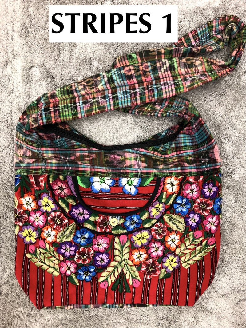 Lucia's Imports - Assortment of Multicolored Recycled Guatemalan Huipile Purse - The Velvet/Satin/Stripes
