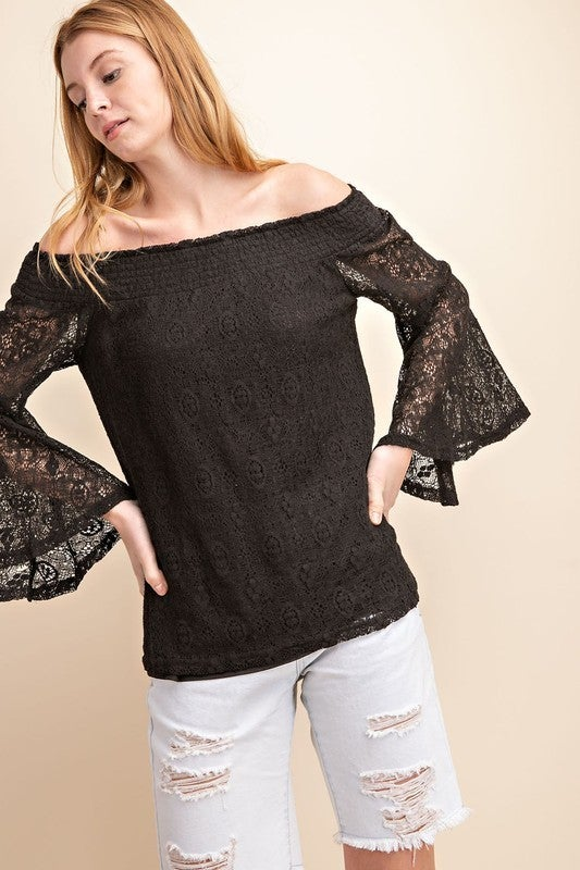 Mittoshop - Tribal lace off shoulder bell sleeve top