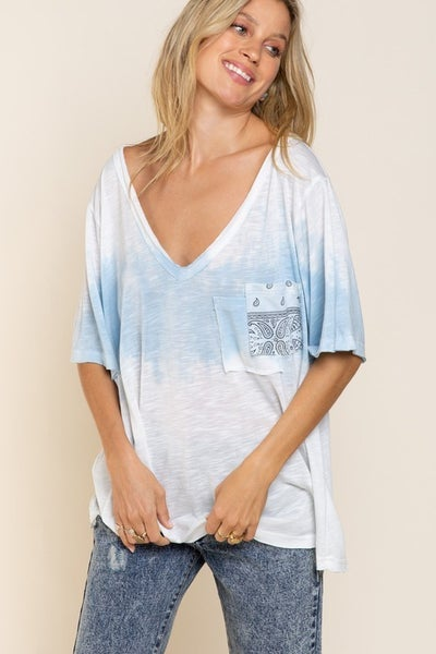 POL - Tie Dye Color Detail Knit Top with Double Front Pouch Pocket