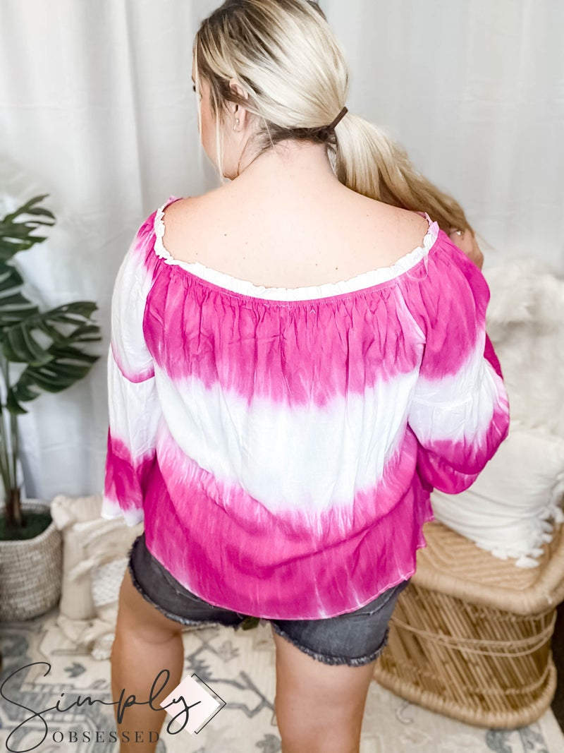 Andree By Unit - Off the shoulder tie dye top with bell sleeves(All Sizes)