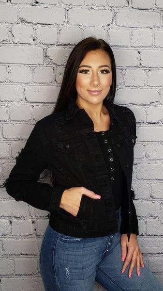 American Bazi - Girlfriend denim jacket with chains