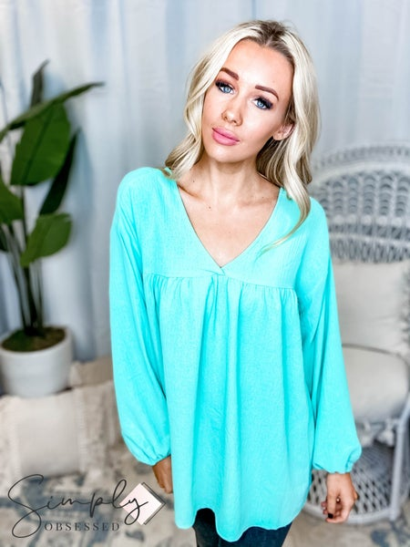 Oddi - Babydoll solid woven v neck top(All Sizes)