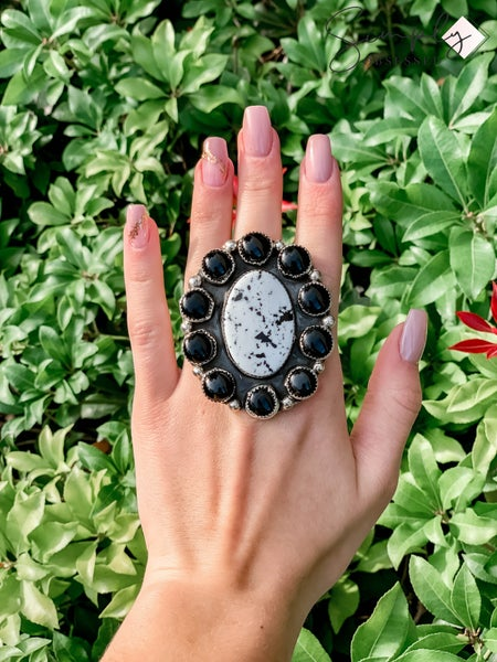 M & S - Black Onyx w/ Cluster Ring
