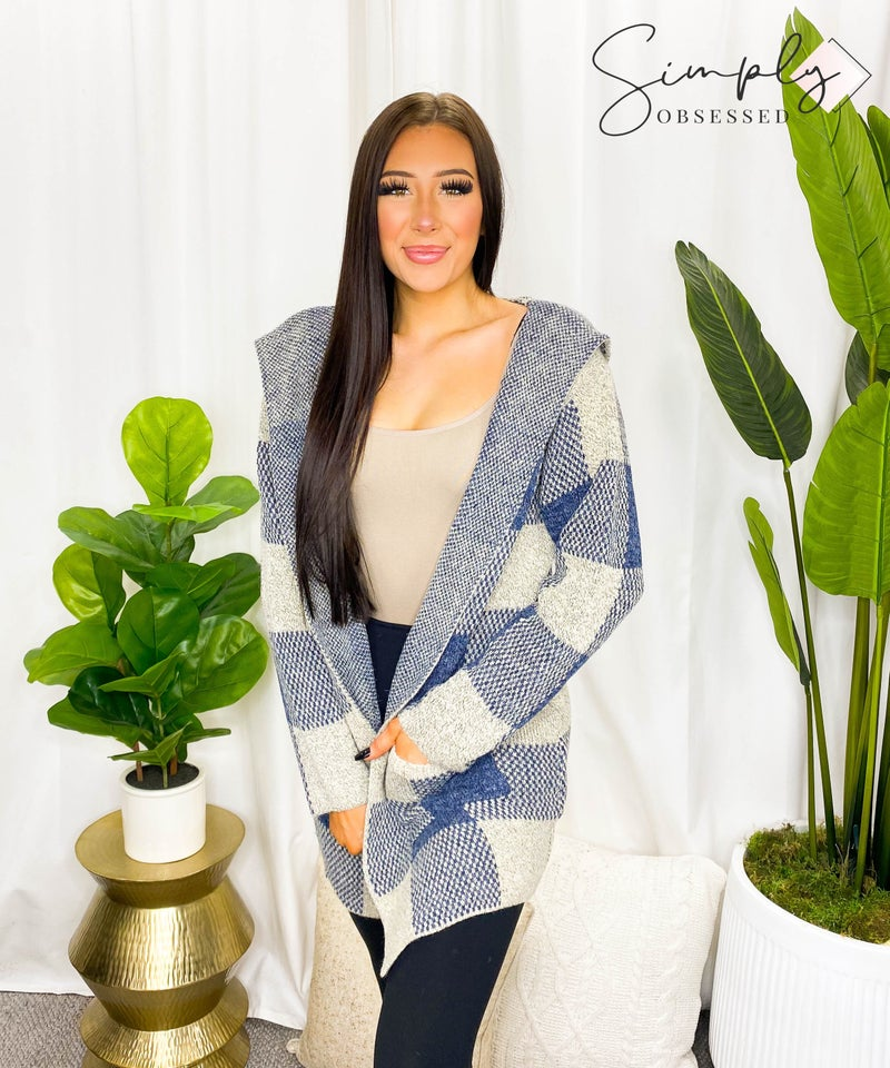 OceanUs - Checkered cardigan sweater with pockets