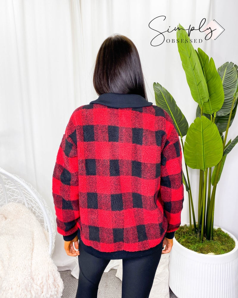 KORI-SHERPA BUFFALO PLAID SWEATER