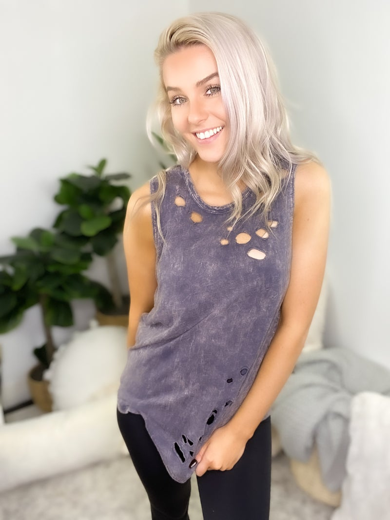 Blue Buttercup - Mineral dyed cotton distressed slub top