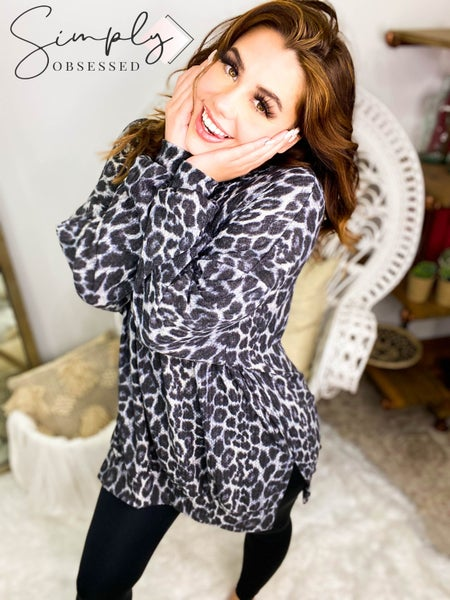 Fantastic Fawn - Leopard print long sleeve tunic t shirt dress