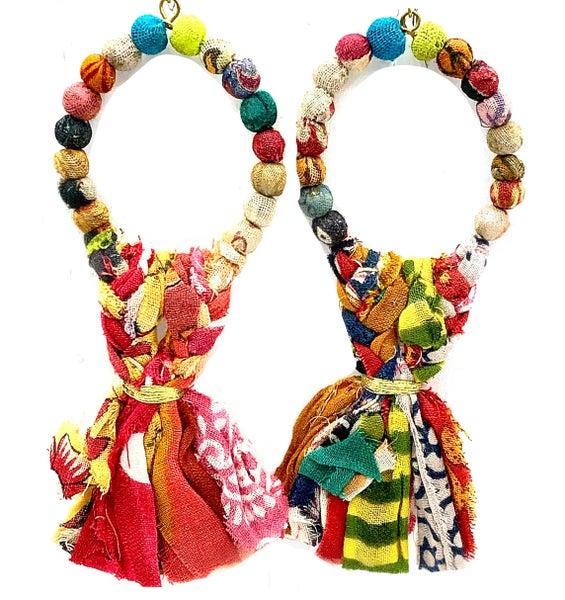 WORLD FINDS - Harvest Fringe Hoop Earrings