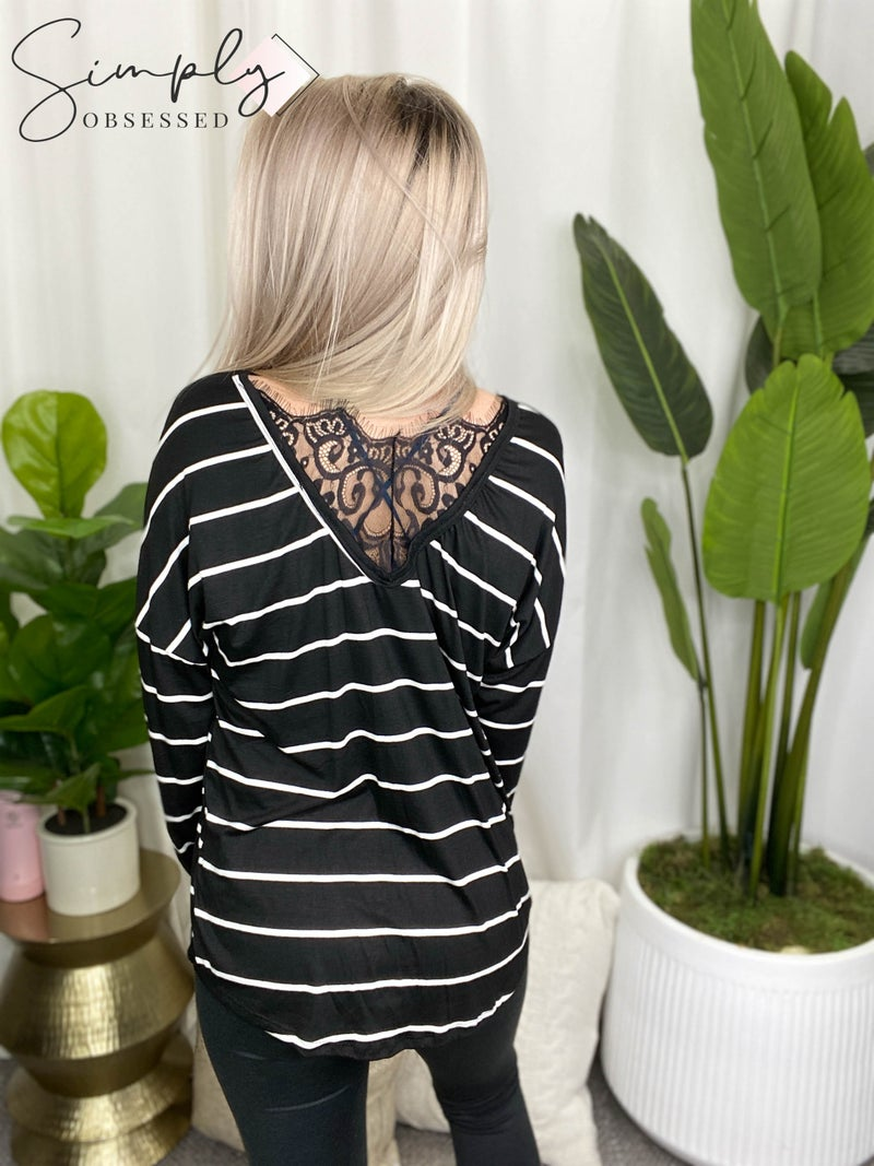 Lovely Melody - Long sleeve striped top with back lace detail